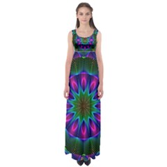 Star Of Leaves, Abstract Magenta Green Forest Empire Waist Maxi Dress