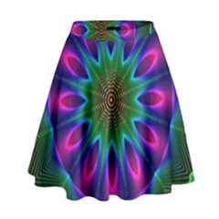 Star Of Leaves, Abstract Magenta Green Forest High Waist Skirt