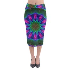 Star Of Leaves, Abstract Magenta Green Forest Midi Pencil Skirt