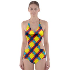 Blue x chains                                                     Cut-Out One Piece Swimsuit