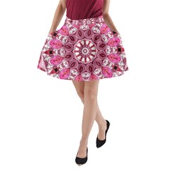 Twirling Pink, Abstract Candy Lace Jewels Mandala  A-Line Pocket Skirt