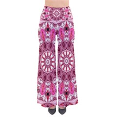 Twirling Pink, Abstract Candy Lace Jewels Mandala  Women s Chic Palazzo Pants