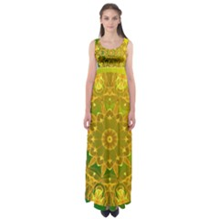 Yellow Green Abstract Wheel Of Fire Empire Waist Maxi Dress