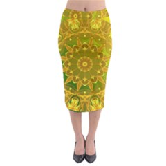 Yellow Green Abstract Wheel Of Fire Midi Pencil Skirt