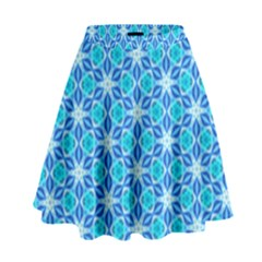 Aqua Hawaiian Stars Under A Night Sky Dance High Waist Skirt