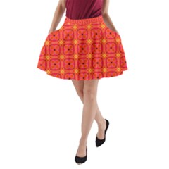 Peach Apricot Cinnamon Nutmeg Kitchen Modern Abstract A-Line Pocket Skirt