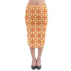 Peach Pineapple Abstract Circles Arches Midi Pencil Skirt