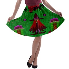 Lady Panda In Everglades A Line Skater Skirt
