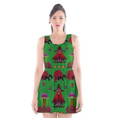 Lady Panda In Everglades Scoop Neck Skater Dress