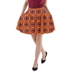Peach Purple Abstract Moroccan Lattice Quilt A-Line Pocket Skirt