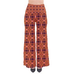 Peach Purple Abstract Moroccan Lattice Quilt Women s Chic Palazzo Pants