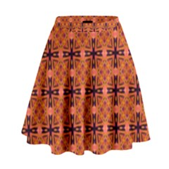 Peach Purple Abstract Moroccan Lattice Quilt High Waist Skirt