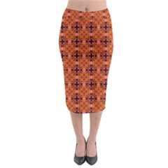 Peach Purple Abstract Moroccan Lattice Quilt Midi Pencil Skirt