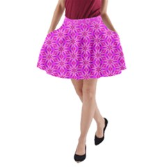 Pink Snowflakes Spinning In Winter A-Line Pocket Skirt