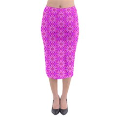 Pink Snowflakes Spinning In Winter Midi Pencil Skirt