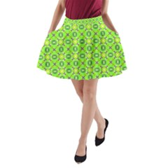 Vibrant Abstract Tropical Lime Foliage Lattice A-Line Pocket Skirt