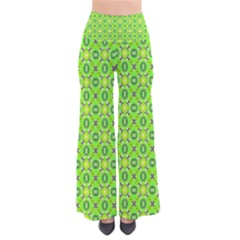 Vibrant Abstract Tropical Lime Foliage Lattice Women s Chic Palazzo Pants