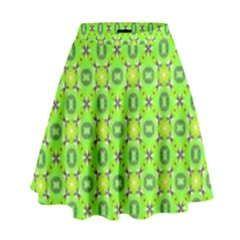 Vibrant Abstract Tropical Lime Foliage Lattice High Waist Skirt