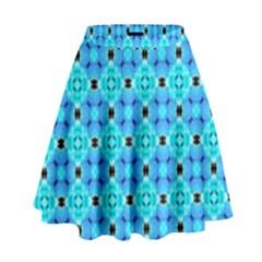 Vibrant Modern Abstract Lattice Aqua Blue Quilt High Waist Skirt