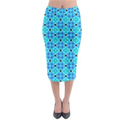 Vibrant Modern Abstract Lattice Aqua Blue Quilt Midi Pencil Skirt