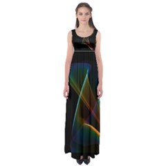 Abstract Rainbow Lily, Colorful Mystical Flower  Empire Waist Maxi Dress