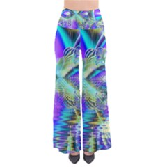 Abstract Peacock Celebration, Golden Violet Teal Women s Chic Palazzo Pants