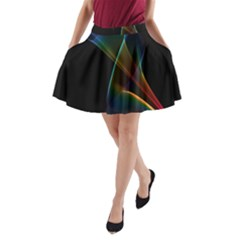 Abstract Rainbow Lily, Colorful Mystical Flower  A-Line Pocket Skirt