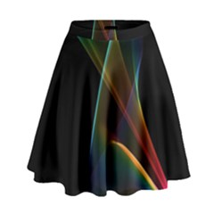 Abstract Rainbow Lily, Colorful Mystical Flower  High Waist Skirt