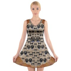 Cats With Hats In The Starry Dark Night V-Neck Sleeveless Skater Dress