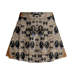Cats With Hats In The Starry Dark Night Mini Flare Skirt