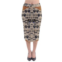 Cats With Hats In The Starry Dark Night Midi Pencil Skirt