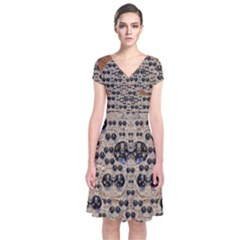 Cats With Hats In The Starry Dark Night Wrap Dress