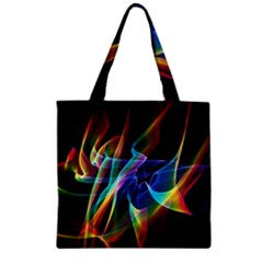 Aurora Ribbons, Abstract Rainbow Veils  Zipper Grocery Tote Bag