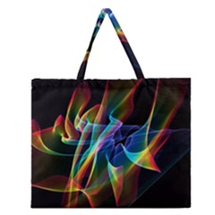 Aurora Ribbons, Abstract Rainbow Veils  Zipper Large Tote Bag