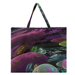 Creation Of The Rainbow Galaxy, Abstract Zipper Large Tote Bag