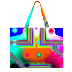 Crossroads Of Awakening, Abstract Rainbow Doorway  Zipper Large Tote Bag