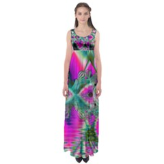 Crystal Flower Garden, Abstract Teal Violet Empire Waist Maxi Dress