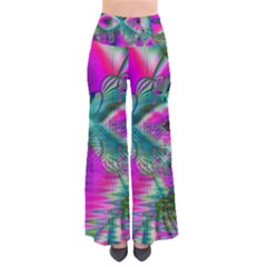 Crystal Flower Garden, Abstract Teal Violet Women s Chic Palazzo Pants