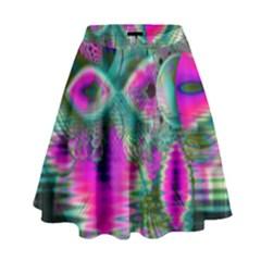 Crystal Flower Garden, Abstract Teal Violet High Waist Skirt