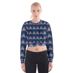 Hearts pattern                                                        Women s Cropped Sweatshirt