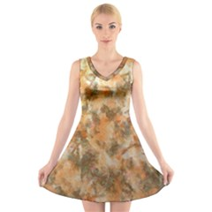 Water Oil Paint                                                   V-Neck Sleeveless Dress
