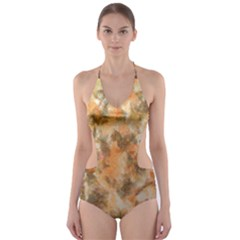 Water Oil Paint                                                       Cut-Out One Piece Swimsuit