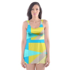 Blue yellow shapes                                                        Skater Dress Swimsuit