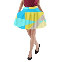 Blue Yellow Shapes                                                        A Line Pocket Skirt