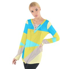 Blue yellow shapes                                                         Women s Tie Up Tee