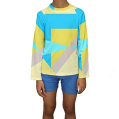 Blue yellow shapes                                                         Kid s Long Sleeve Swimwear