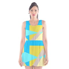 Blue Yellow Shapes                                                        Scoop Neck Skater Dress