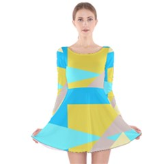 Blue yellow shapes                                                        Long Sleeve Velvet Skater Dress