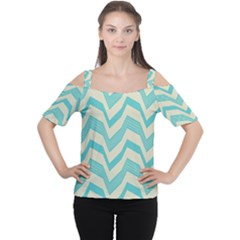 Blue waves pattern                                                         Women s Cutout Shoulder Tee