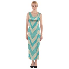 Blue waves pattern                                                         Fitted Maxi Dress